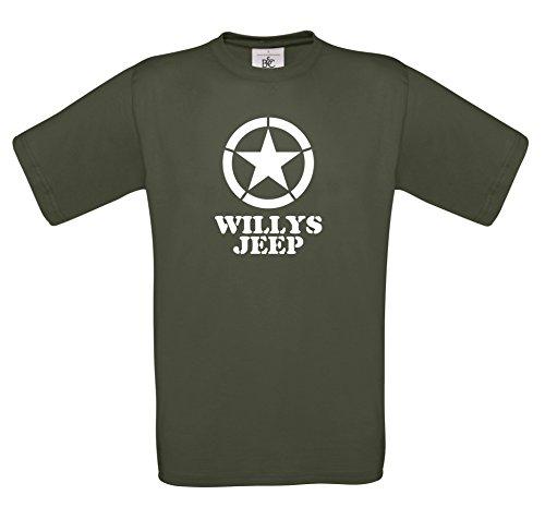 Milch und Honig, Willys Jeep T-Shirt S-XXL div. Farben oliv(weiß)