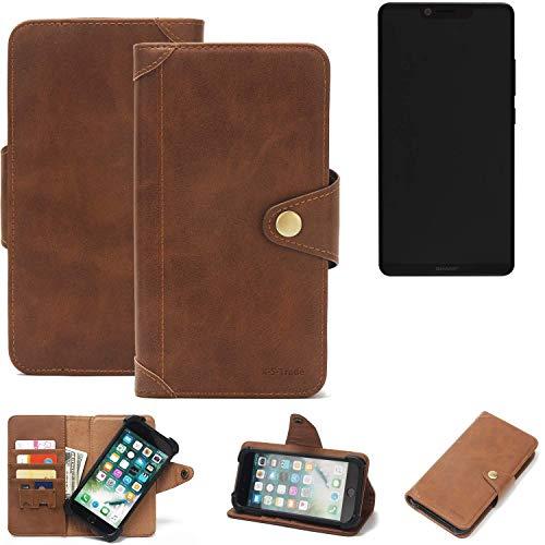 K-S-Trade® Handy Hülle Für Sharp Aquos D10 Schutzhülle Walletcase Bookstyle Tasche Handyhülle Schutz Case Handytasche Wallet Flipcase Cover PU Braun (1x)