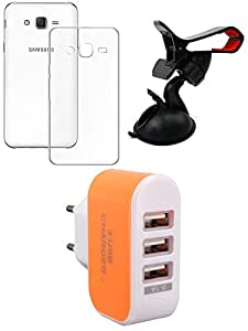 NIROSHA Cover Case Mobile Holder Charger for Samsung Galaxy ON5 - Combo