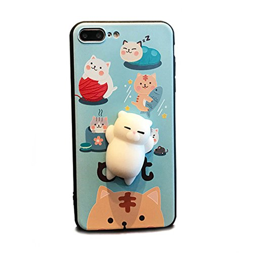 Preisvergleich Produktbild 3D Katze Design Hülle Case Weiche Silikon Cartoon Handyhülle Entspannung Schutzhülle Stressentlastung Figer Pinch Case Tier Silikon Dekompression Handy Hülle für iPhone 6/6S 6plus 6S plus 7 7plus (Für iPhone 6/6s, Katze 2)