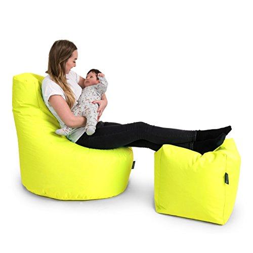 BuBiBag Gamer Kissen Lounge Sitzsack Sessel original Sitzkissen In & Outdoor geeignet fertig befüllt in 31 Farben (gelb) - 5