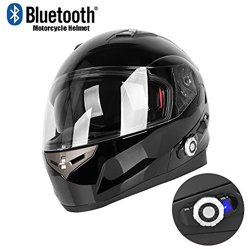BQT Motorrad-Bluetooth-Helme, Flip Up Doppelvisiere,Vollvisierhelm 500M, Paarung mit 2-3 Fahrern, UKW-Radio, DOT-Sicherheitszertifikat (L/XL/XXL) Wasserdicht,Brightblack,L