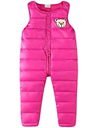 Mama stadt Unisex Kids Baby Winter Overall Snow Pants Girls Boys Down Padded Suspender Trousers Warm Dungarees Adjustable Bib Pants Jumpsuits 1-6 Years