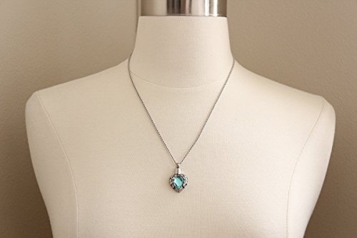 Zahara Pet Memorial Urn Necklace (20 Inches) with Velvet Pouch & Funnel | Angel Heart Aquamarine Pendant + Chain 6