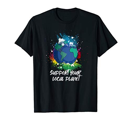Erde Damen Rosa T-shirt (Support Your Local Planet Natur Umwelt Erde Retten T-Shirt)