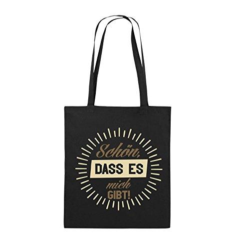 Comedy Bags - Schön, dass es mich gibt! - Jutebeutel - lange Henkel - 38x42cm - Farbe: Schwarz / Weiss-Neongrün Schwarz / Hellbraun-Beige