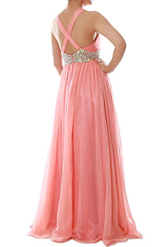 MACloth Women Straps V Neck Chiffon Long Prom Dress Wedding Formal Ball Gown Grau