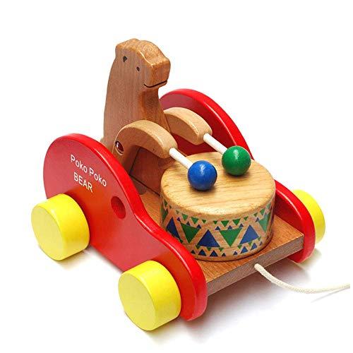 Gobus in legno colorato tirare lungo orso auto drumming bear trascinando giocattolo creativo blocchi di puzzle per i più piccoli bambini