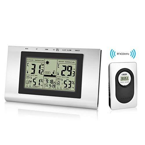 GotechoD Funkwetterstation Innen Außen Thermometer mit LCD Anzeige, Wettervorhersage