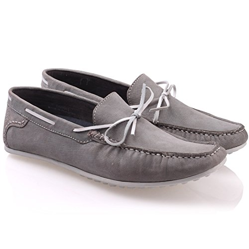 Unze Cuir Mocassins Chaussures Hommes Grisby ' Gris