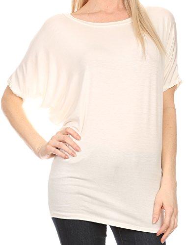 Sakkas Calloway Long Top Mince Batwing Blouse Chemise Couture Dorsale Tee Top Avec Drapé Blanc