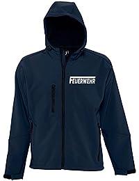 FEUERWEHR SOFTSHELL Jacke mit Kapuze für Herren, Damen, Kinder mit reflektierendem Druck vorne + hinten S M L XL 2XL 3XL FF BF