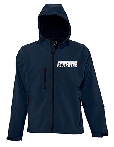 Coole-Fun-T-Shirts Feuerwehr Softshell Jacke mit Kapuze reflektierender Druck vorne + hinten Herren Navy Gr.L