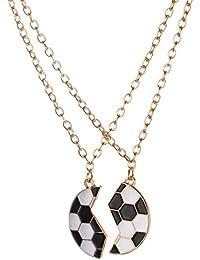 LUX accesorios dorado tono negro esmalte blanco roto balón de fútbol BFF ... 799376f4acca7