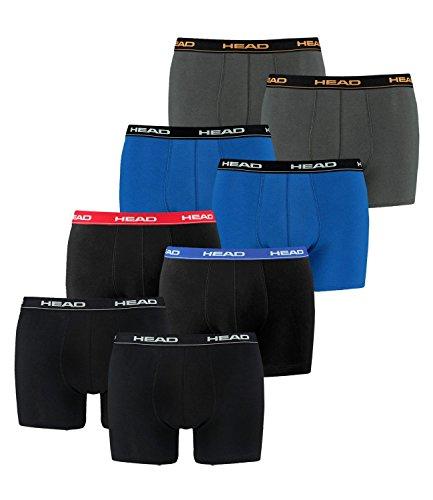 HEAD Herren Boxershorts, Unterhosen, 8 Stück, Herbst / Winter Farben 17/18 1x Black / 1x Red/Blue/Black / 1x Blue/Black / 1x dark shadow