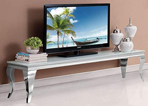 HG Royal Estates GmbH Saphir Barock TV Konsole Lowboard Weiße Glasplatte