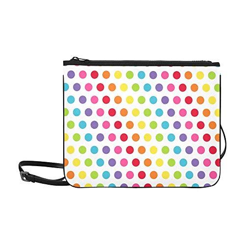 WYYWCY Schöne bunte Polka Dots Muster benutzerdefinierte hochwertige Nylon dünne Clutch Crossbody Tasche Umhängetasche