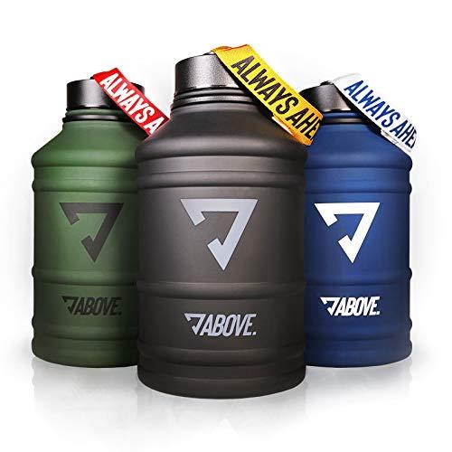 ABOVE. Water Jug Edelstahl Matt I 2 Liter Trinkflasche für Sport, Fitness, Gym, Camping, Outdoor I XL Gallone I BPA Frei I Auslaufsicher I Bruchsicher (Olive)