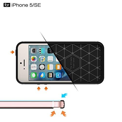iPhone Case Cover Pour iPhone SE & 5 & 5 Fibre de texture brossée TPU Rugged Armor Case de protection ( Color : Red ) Dark blue