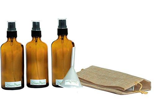 Duft Öl 2 Unzen Flasche (5x Qualität Bernstein Glas Spray Flaschen 100ml Set by nomara Organics, inklusive: 3x 100ml Glas Flasche mit Schwarz ZERSTÄUBERN/Spray/Mister + 1BPA-frei Transfer Trichter + 1Natural Jute Bag. Wiederverwendbar, Mehrzweck, praktisch, Echo Freundlicher Set. Ideal für Geschenk, Bio Beauty und Pflege der Haut, Facial Sprühstöße/tonners/Seren, Ätherisches Öl, Aromatherapie, weiches Mister für Pflanzen, Blumen, Orchideen, & kleine Pet Care.)