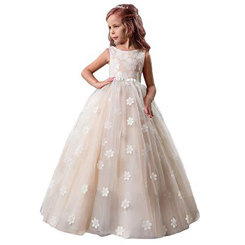 FYMNSI Blumenmädchen Kleid Kinder Tüll Prinzessin Langes Abendkleid Brautjungfern Hochzeitskleid...