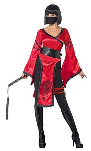 Kostüm Ninja Nunchuck - Smiffy's 43727M - Schattenkrieger Kostüm mit Kleid Gürtel Gamaschen Mask und Nunchucks