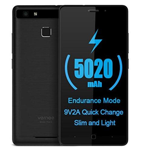 Vernee Thor E - Android 7.0 5020mAh Batería 4G Smartphone Cuerpo de metal completo, 8.2mm slim & 149g de luz, Octa Core 3GB RAM + 16GB, 30min de carga rápida, GPS de huellas digitales - Negro