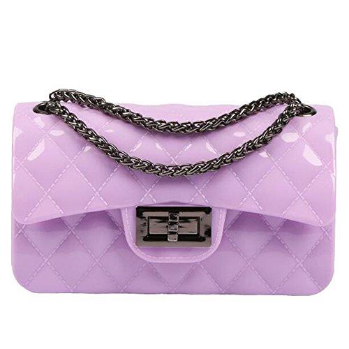 BYD Damen Mini PU Leder Gesteppt Handtasche Schultertaschen Ketten Tasche mit Steppmuster und Kettenhenkel Maedchen(lila) (Für Frauen Coach-taschen Verkauf)
