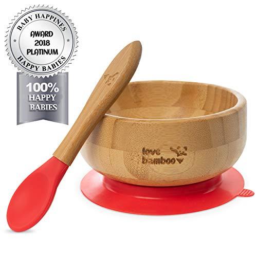 Cuenco infantil con cuchara y ventosa, hecho con bambú natural, cuenco antideslizante para papilla con cuchara infantil (rojo)