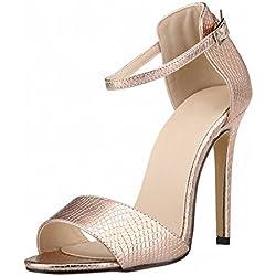 Zhuhaixmy Damen Frau Sommer Krokodil Muster Peep Toe High Heels Schnalle Sandalen Schuhe
