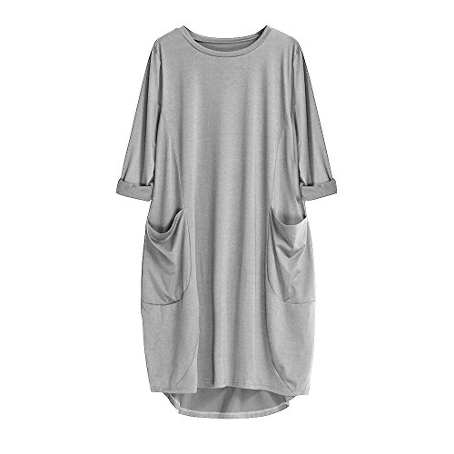 Größe Kostüm Zigeuner Plus - BHYDRY Womens Pocket Loose Dress Damen Rundhalsausschnitt Casual Lange Oberteile Kleid Plus Größe(X-Large,Grau