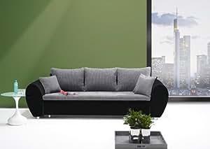 big sofa mit schlaffunktion und bettkasten in schwarz grau mit wellenfederpolsterung im sitz. Black Bedroom Furniture Sets. Home Design Ideas