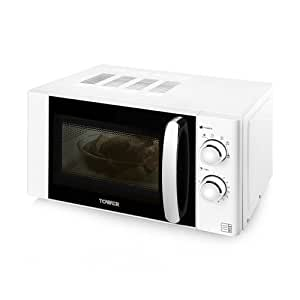 Tower T24009W Manual Microwave, 800 W, 20 L - White