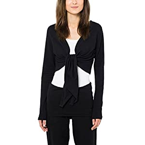 Ultrasport Long Sleeve Bolero Shrug Shakti - Women's Jersey Crop Tie Up Bolero for Active and Casual Wear - Shrug Top Cardigan in Black, M