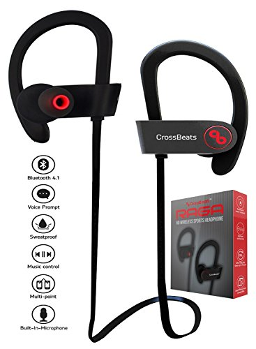 CrossBeatsTM Raga Wireless Bluetooth Headset Headphones with Bass,Secure Fit Bluetooth V4.1, 8 Hrs Playtime / Built/in/Mic Ergonomic/Designed Ear Hooks,Black