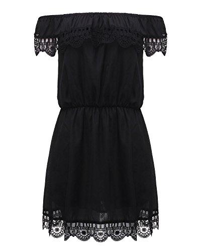ZANZEA Femmes Sexy Mini Robes De Soirée Dentelle Crochet Epaule Nu Partie Dress D'été Noir