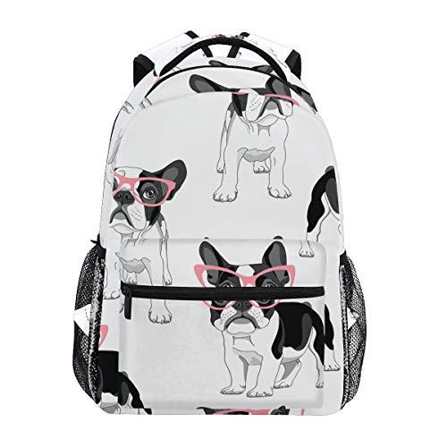 MONTOJ Bulldog mit Brille Reisetasche Campus Rucksack