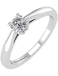 IGI certificado redondo boda de diamante anillo de compromiso en 10K oro (g-H, i3, 0,16quilates)