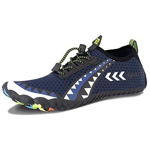 Herren Damen Outdoor Fitnessschuhe Barfußschuhe Trekking Schuhe Badeschuhe Schnell Trocknend rutschfest(Blau Weiss,48 EU)