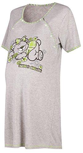 Happy Mama. Femme Maternité chemise nuit Nuisette grossesse et allaitement. 029p Vert