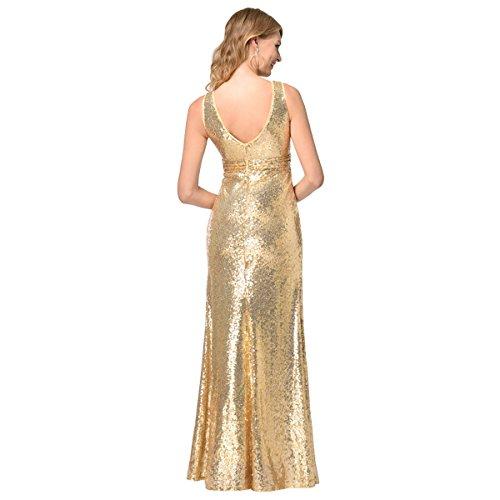 EALSN Frauen Pailletten Abend Party Kleider Sleeveless V-Ausschnitt Cocktail Lange Kleider,Gold-S - 2