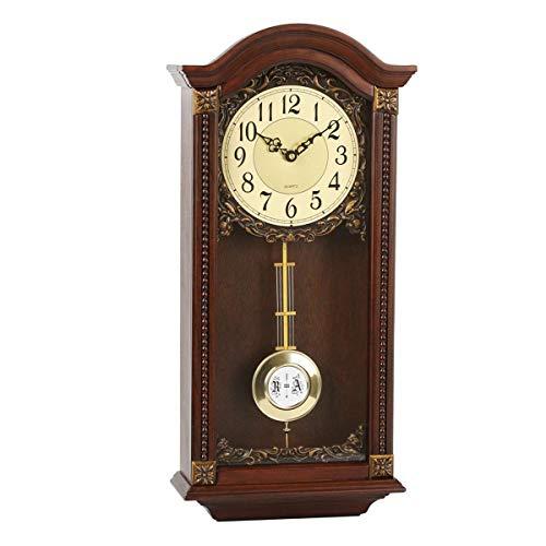 Antike Wanduhr, Pendel Pendeluhren mit Westminster Chime Vintage Retro Silent Finish Holzwand Uhren Nicht tickende Quarz Uhren Geschenk (58cm)