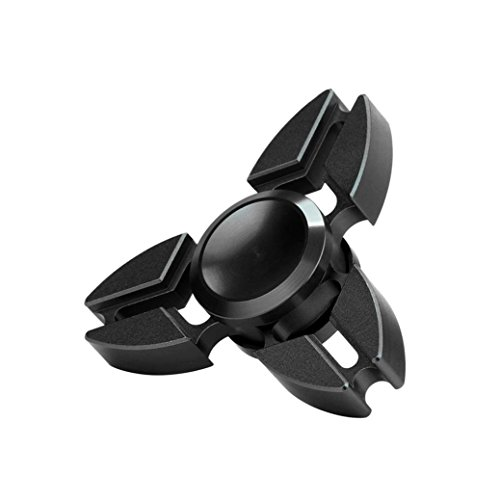 Honestyi Tri Alloy Finger Toy Hand Fidget Spinner Gyro edc Spinner Focus Toy 5 Colors (Black)