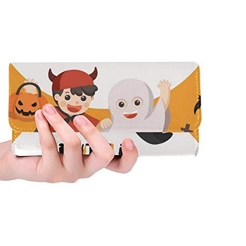 Einzigartige benutzerdefinierte Kinder gekleidet Halloween Kostüm gehen Frauen Trifold Wallet Lange Geldbörse Kreditkarteninhaber Fall Handtasche