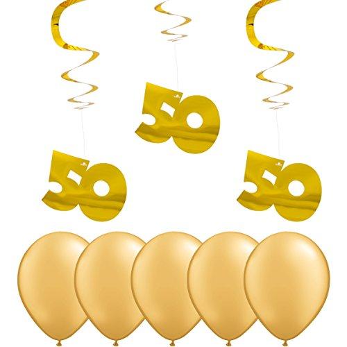partydiscount24 Deko-Spirale - Zahl 50 - Gold Metallic (Glänzend) + 5 Gratis Goldene (Metallic / Glänzend) Luftballons Ø 30 cm