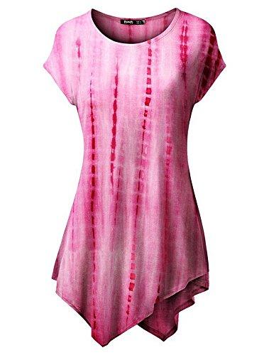 belego femmes unique du Drap-housse confortable longue tunique Tops ourlet Mouchoir slim T-shirt à manches courtes pour femme Rose - Rose