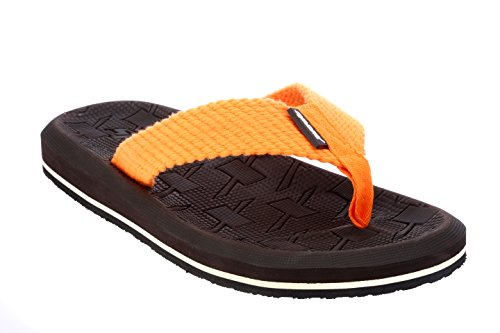 Sparx Men's Brown Orange Canvas Hawaii House Slippers (SF2040G)-10 UK  available at amazon for Rs.404