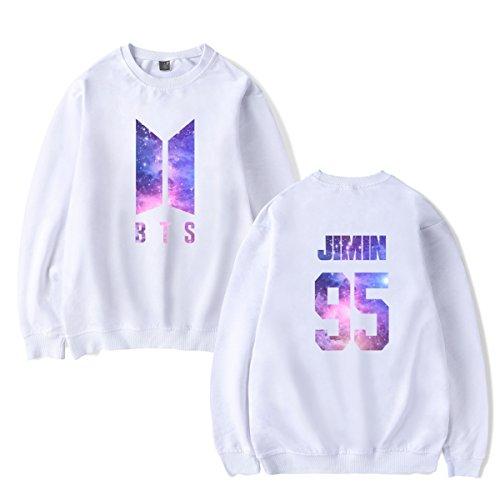 SIMYJOY Lovers KPOP BTS Fans Cielo stellato Felpa Pullover Hip Hop Felpa Top per Uomo Donna Adolescente bianco Jimin 95