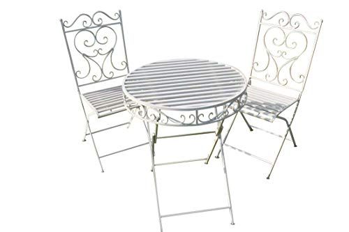 GardenMarketPlace Versailles Garten-Bistro-Set, Metall, einfarbig, Weiß -