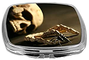 Rikki Knight Compact Mirror, Skull And Hand Bone